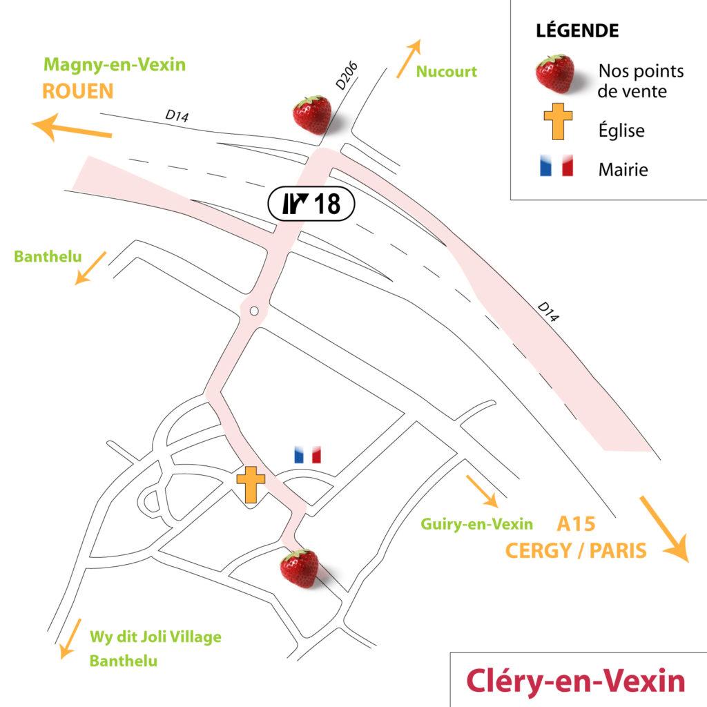 Plan Cléry-en-Vexin - Points de vente Fraises de Cléry