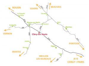 Plan d'accès Cléry-en-Vexin - Fraises de Cléry